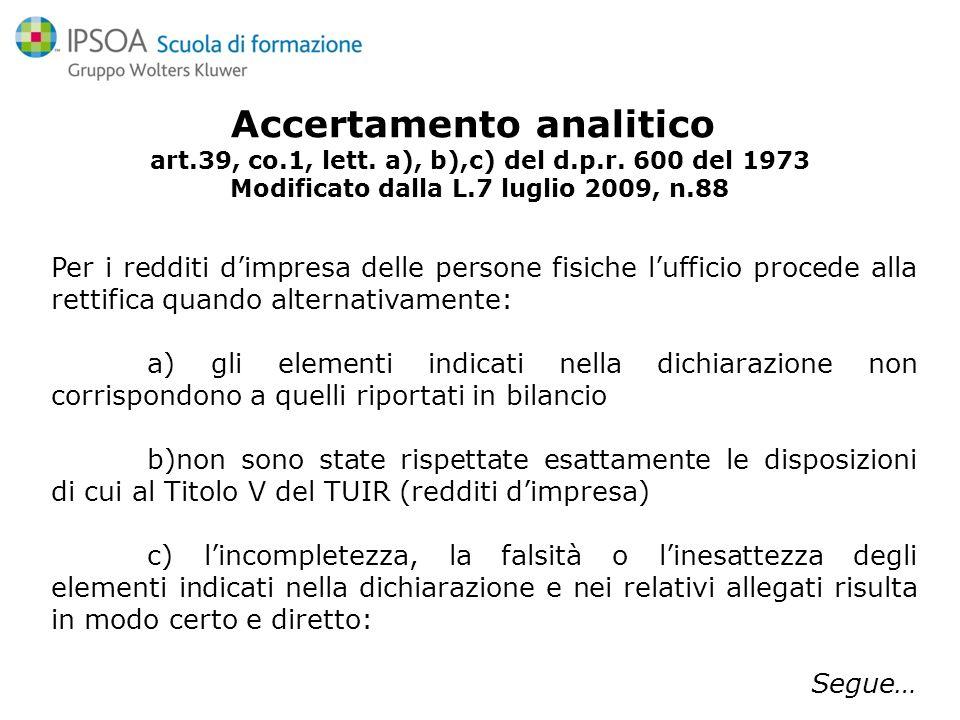 Accertamento sintetico art.38, co.4,5,6,7 del d.p.r.