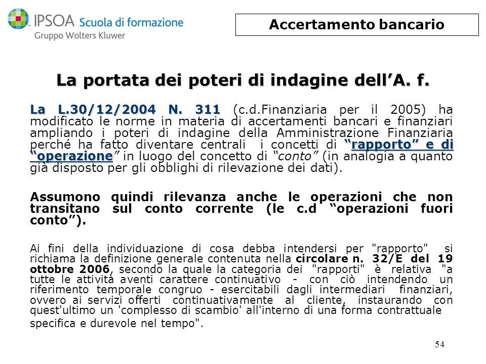 54 La portata dei poteri di indagine dellA. f. La L.30/12/2004 N. 311rapporto e di operazione La L.30/12/2004 N. 311 (c.d.Finanziaria per il 2005) ha