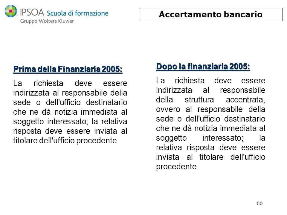 60 Prima della Finanziaria 2005: La richiesta deve essere indirizzata al responsabile della sede o dell'ufficio destinatario che ne dà notizia immedia