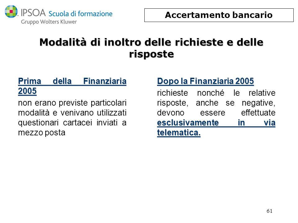 61 Modalità di inoltro delle richieste e delle risposte Prima della Finanziaria 2005 non erano previste particolari modalità e venivano utilizzati que