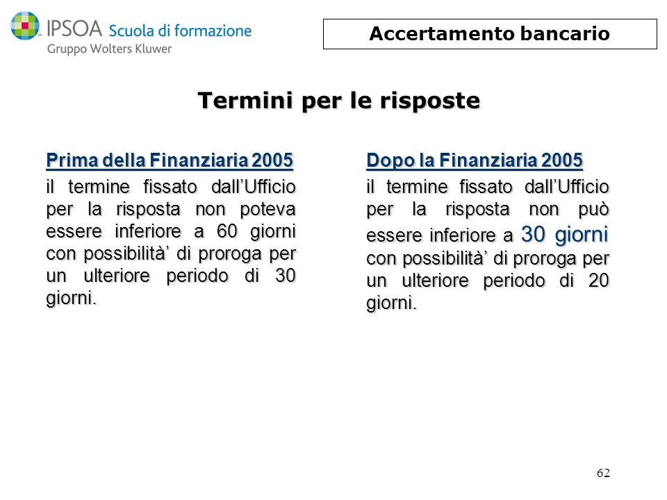 62 Termini per le risposte Prima della Finanziaria 2005 il termine fissato dallUfficio per la risposta non poteva essere inferiore a 60 giorni con pos