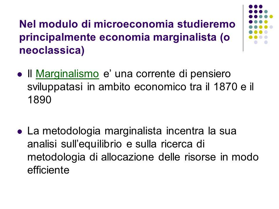 Nel modulo di microeconomia studieremo principalmente economia marginalista (o neoclassica) Il Marginalismo e una corrente di pensiero sviluppatasi in