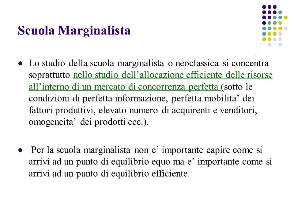 Scuola Marginalista Lo studio della scuola marginalista o neoclassica si concentra soprattutto nello studio dellallocazione efficiente delle risorse a