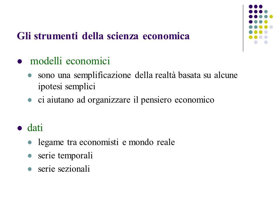 Gli strumenti della scienza economica modelli economici sono una semplificazione della realtà basata su alcune ipotesi semplici ci aiutano ad organizz