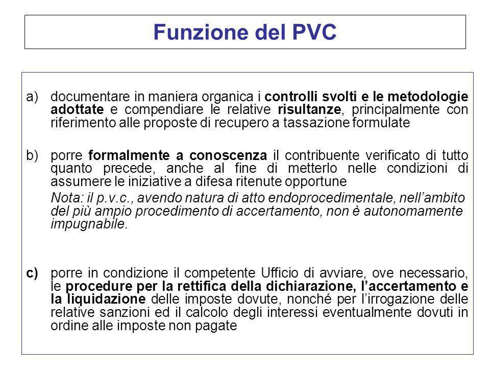 Funzione del PVC a)documentare in maniera organica i controlli svolti e le metodologie adottate e compendiare le relative risultanze, principalmente c