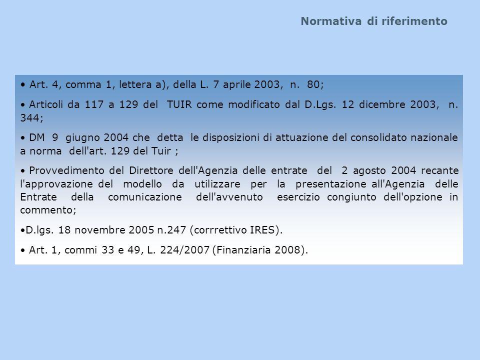 Normativa di riferimento Art. 4, comma 1, lettera a), della L. 7 aprile 2003, n. 80; Articoli da 117 a 129 del TUIR come modificato dal D.Lgs. 12 dice
