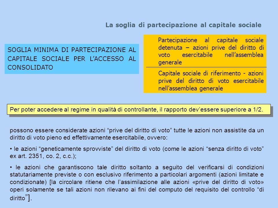 La soglia di partecipazione al capitale sociale SOGLIA MINIMA DI PARTECIPAZIONE AL CAPITALE SOCIALE PER LACCESSO AL CONSOLIDATO Partecipazione al capi