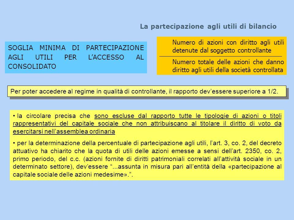 La partecipazione agli utili di bilancio SOGLIA MINIMA DI PARTECIPAZIONE AGLI UTILI PER LACCESSO AL CONSOLIDATO Numero di azioni con diritto agli util