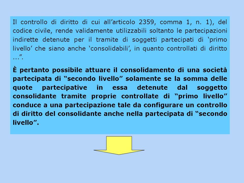 Il controllo di diritto di cui allarticolo 2359, comma 1, n. 1), del codice civile, rende validamente utilizzabili soltanto le partecipazioni indirett