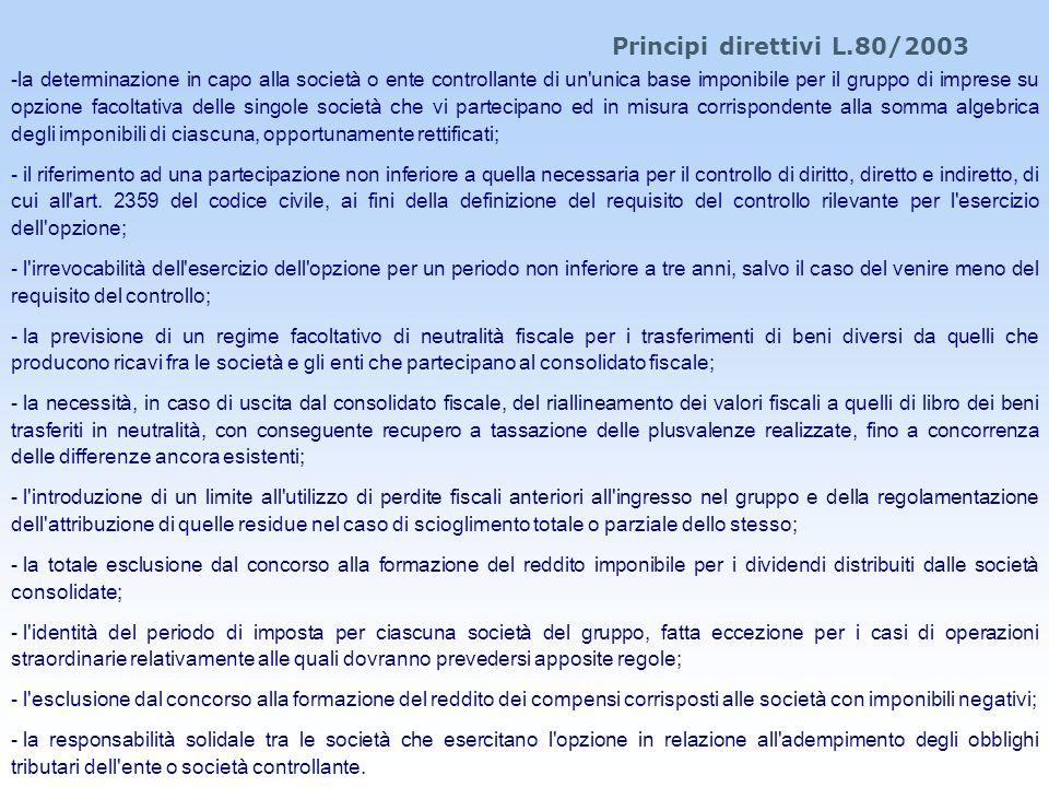 Principi direttivi L.80/2003 -la determinazione in capo alla società o ente controllante di un'unica base imponibile per il gruppo di imprese su opzio