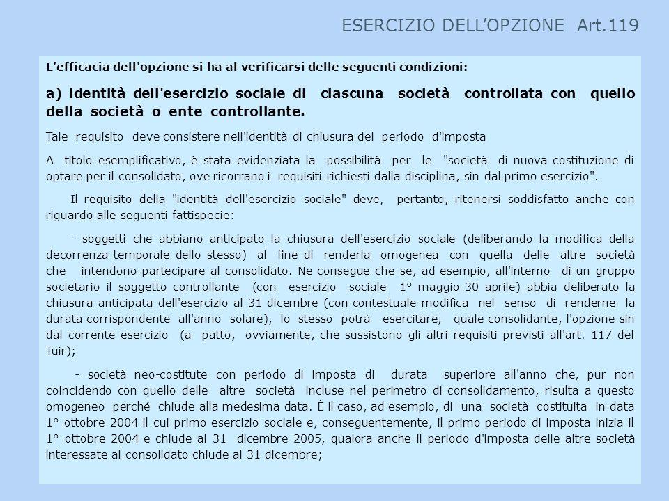 L'efficacia dell'opzione si ha al verificarsi delle seguenti condizioni: a) identità dell'esercizio sociale di ciascuna società controllata con quello
