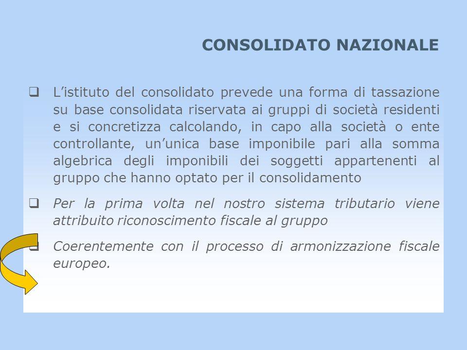 CONSOLIDATO NAZIONALE Listituto del consolidato prevede una forma di tassazione su base consolidata riservata ai gruppi di società residenti e si conc