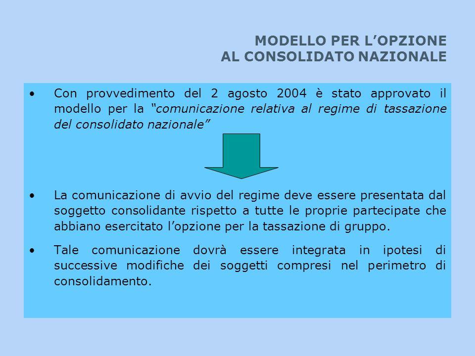 MODELLO PER LOPZIONE AL CONSOLIDATO NAZIONALE Con provvedimento del 2 agosto 2004 è stato approvato il modello per la comunicazione relativa al regime