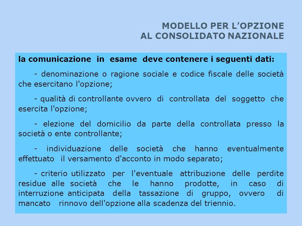 MODELLO PER LOPZIONE AL CONSOLIDATO NAZIONALE la comunicazione in esame deve contenere i seguenti dati: - denominazione o ragione sociale e codice fis