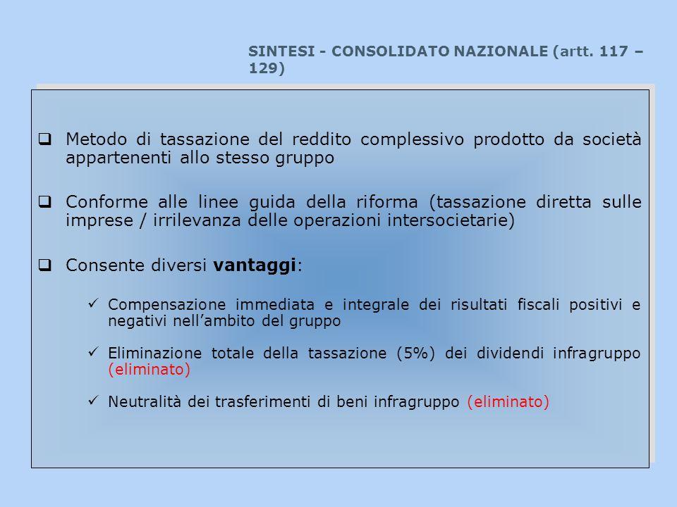 SINTESI - CONSOLIDATO NAZIONALE (artt. 117 – 129) Metodo di tassazione del reddito complessivo prodotto da società appartenenti allo stesso gruppo Con