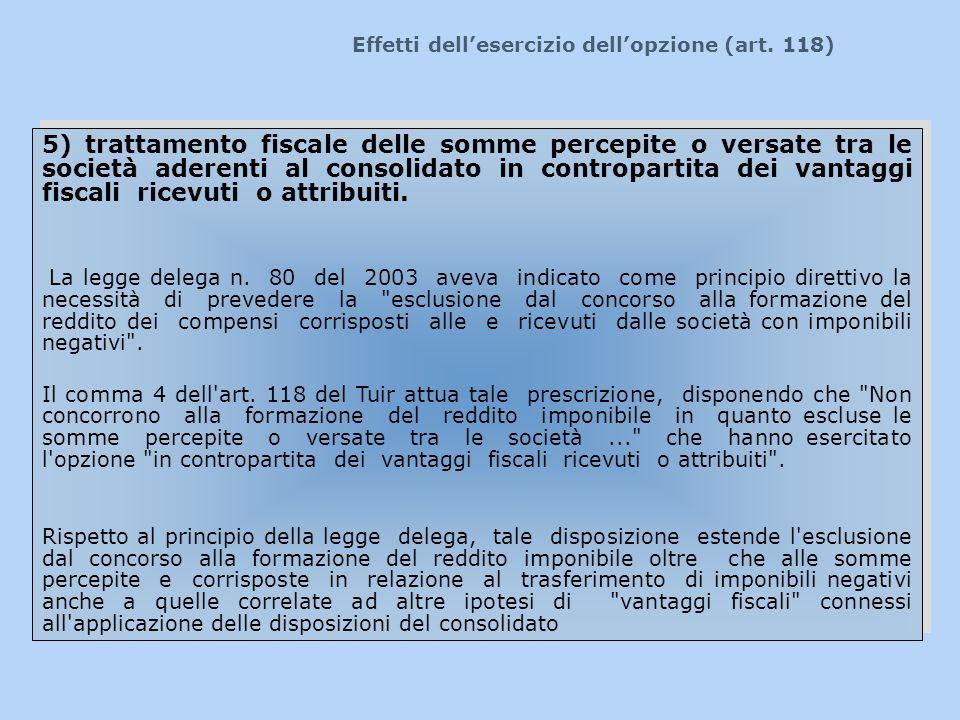 Effetti dellesercizio dellopzione (art. 118) 5) trattamento fiscale delle somme percepite o versate tra le società aderenti al consolidato in contropa