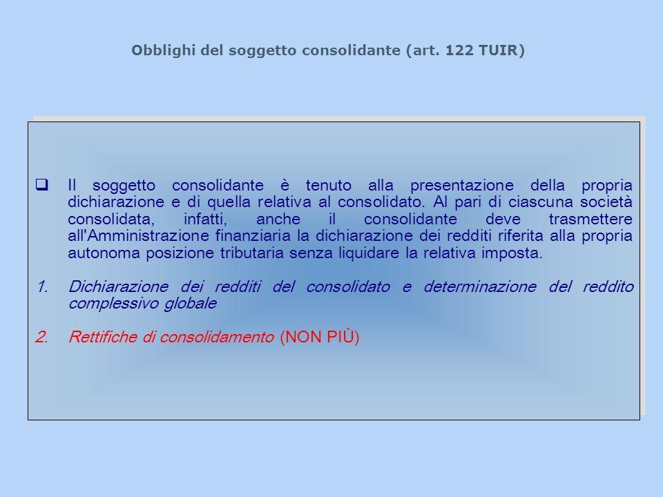 Obblighi del soggetto consolidante (art. 122 TUIR) Il soggetto consolidante è tenuto alla presentazione della propria dichiarazione e di quella relati