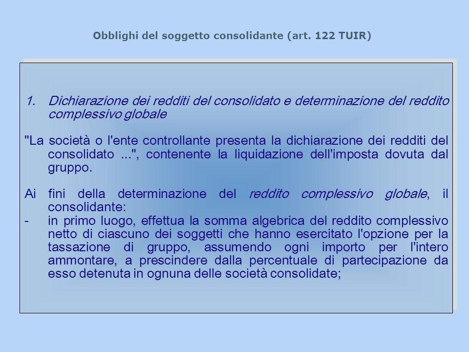 Obblighi del soggetto consolidante (art. 122 TUIR) 1.Dichiarazione dei redditi del consolidato e determinazione del reddito complessivo globale