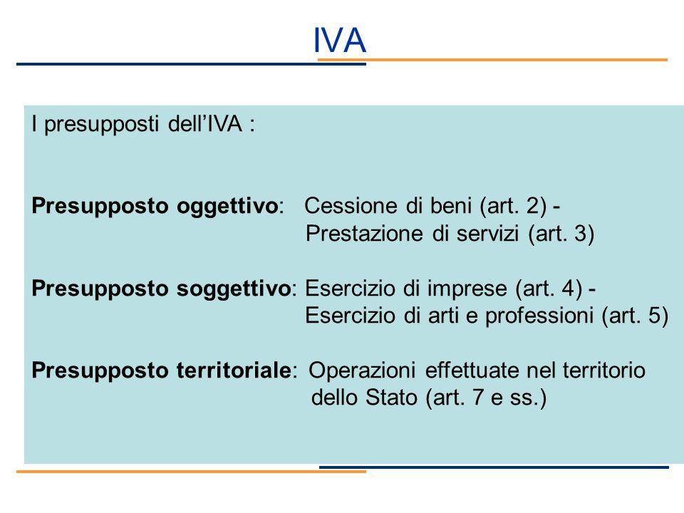 IVA I presupposti dellIVA : Presupposto oggettivo: Cessione di beni (art. 2) - Prestazione di servizi (art. 3) Presupposto soggettivo: Esercizio di im