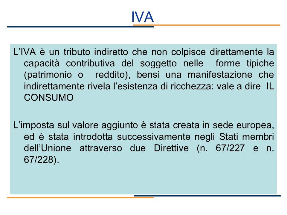 IVA LIVA è un tributo indiretto che non colpisce direttamente la capacità contributiva del soggetto nelle forme tipiche (patrimonio o reddito), bensì