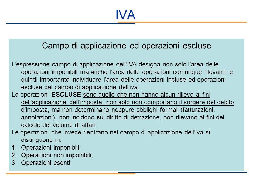 Campo di applicazione ed operazioni escluse Lespressione campo di applicazione dellIVA designa non solo larea delle operazioni imponibili ma anche lar