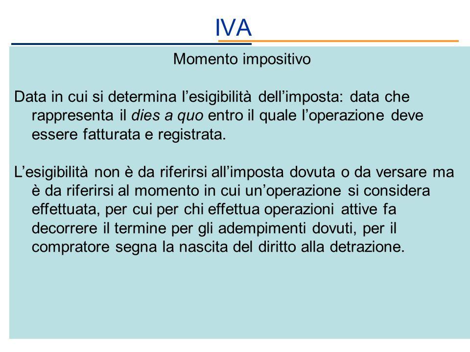 IVA Momento impositivo Data in cui si determina lesigibilità dellimposta: data che rappresenta il dies a quo entro il quale loperazione deve essere fa