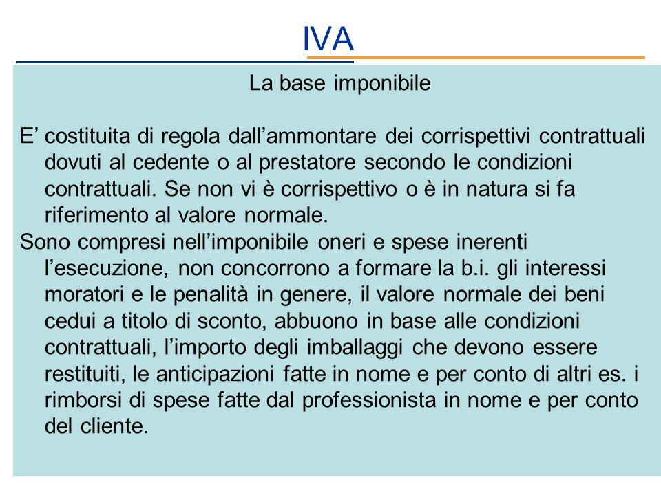 IVA La base imponibile E costituita di regola dallammontare dei corrispettivi contrattuali dovuti al cedente o al prestatore secondo le condizioni con
