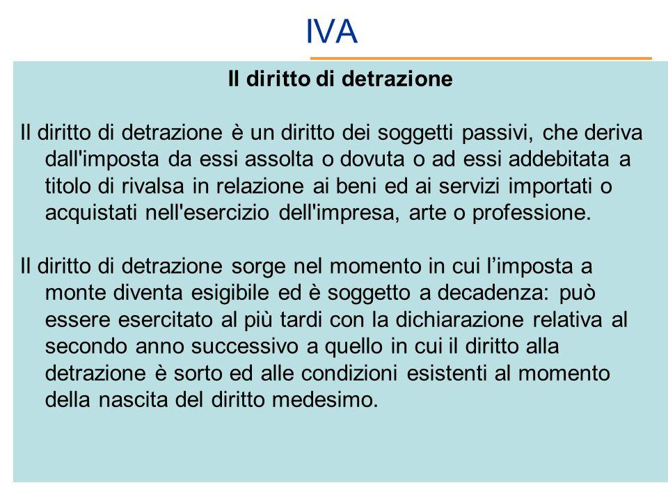 IVA Il diritto di detrazione Il diritto di detrazione è un diritto dei soggetti passivi, che deriva dall'imposta da essi assolta o dovuta o ad essi ad