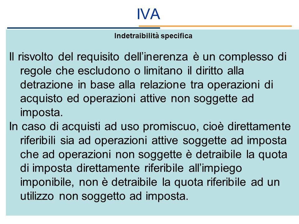 IVA Indetraibilità specifica Il risvolto del requisito dellinerenza è un complesso di regole che escludono o limitano il diritto alla detrazione in ba