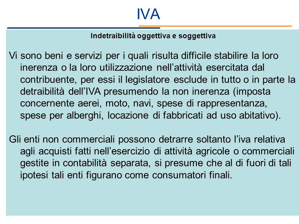 IVA Indetraibilità oggettiva e soggettiva Vi sono beni e servizi per i quali risulta difficile stabilire la loro inerenza o la loro utilizzazione nell