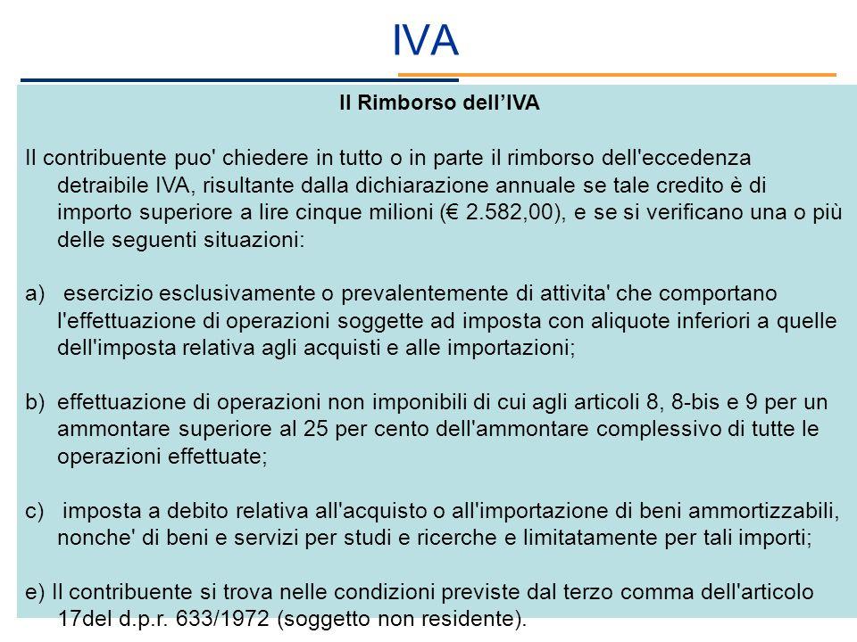 IVA Il Rimborso dellIVA Il contribuente puo' chiedere in tutto o in parte il rimborso dell'eccedenza detraibile IVA, risultante dalla dichiarazione an