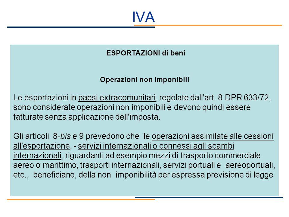 ESPORTAZIONI di beni Operazioni non imponibili Le esportazioni in paesi extracomunitari, regolate dall'art. 8 DPR 633/72, sono considerate operazioni