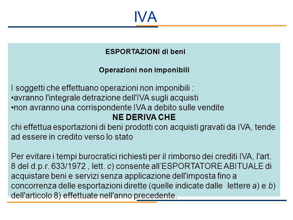 IVA ESPORTAZIONI di beni Operazioni non imponibili I soggetti che effettuano operazioni non imponibili : avranno l'integrale detrazione dell'IVA sugli