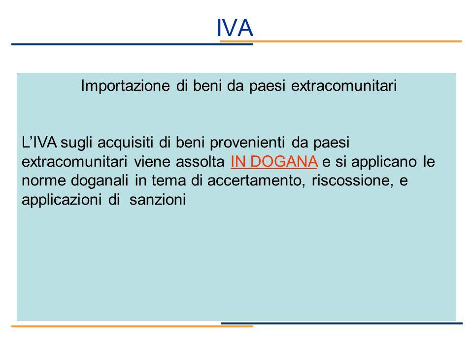 IVA Importazione di beni da paesi extracomunitari LIVA sugli acquisiti di beni provenienti da paesi extracomunitari viene assolta IN DOGANA e si appli