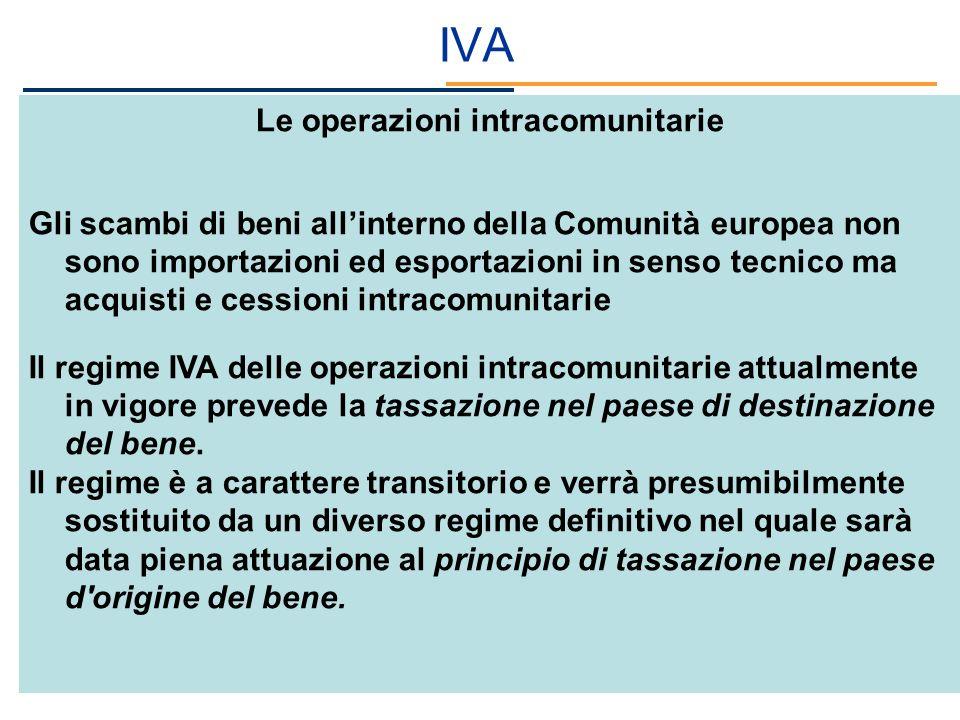 IVA Le operazioni intracomunitarie Gli scambi di beni allinterno della Comunità europea non sono importazioni ed esportazioni in senso tecnico ma acqu