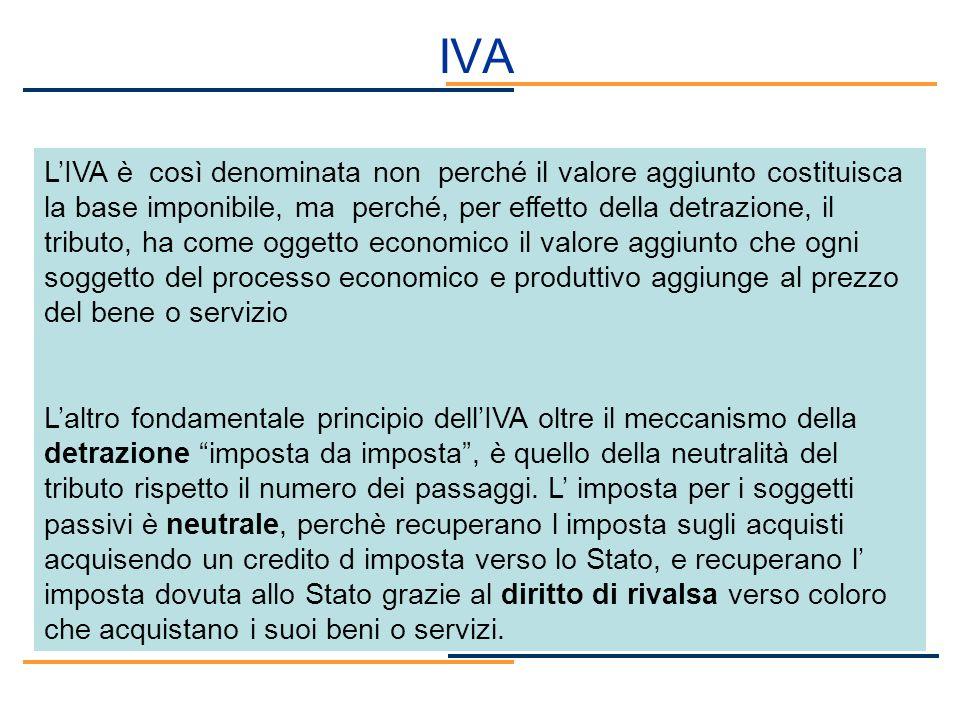 IVA LIVA è così denominata non perché il valore aggiunto costituisca la base imponibile, ma perché, per effetto della detrazione, il tributo, ha come