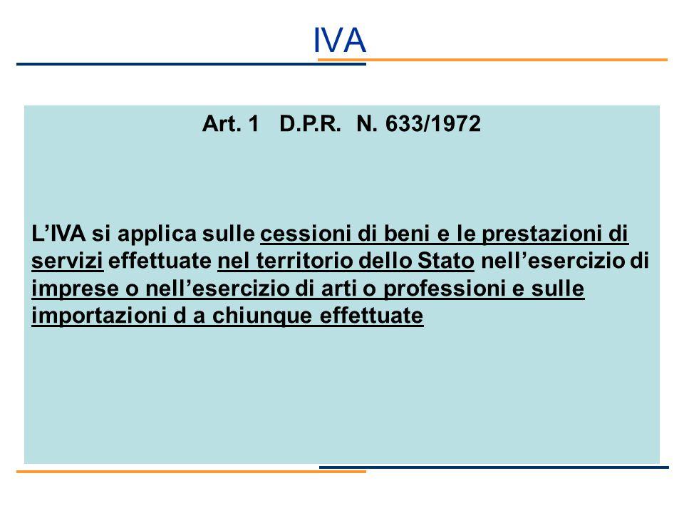 IVA Art. 1 D.P.R. N. 633/1972 LIVA si applica sulle cessioni di beni e le prestazioni di servizi effettuate nel territorio dello Stato nellesercizio d