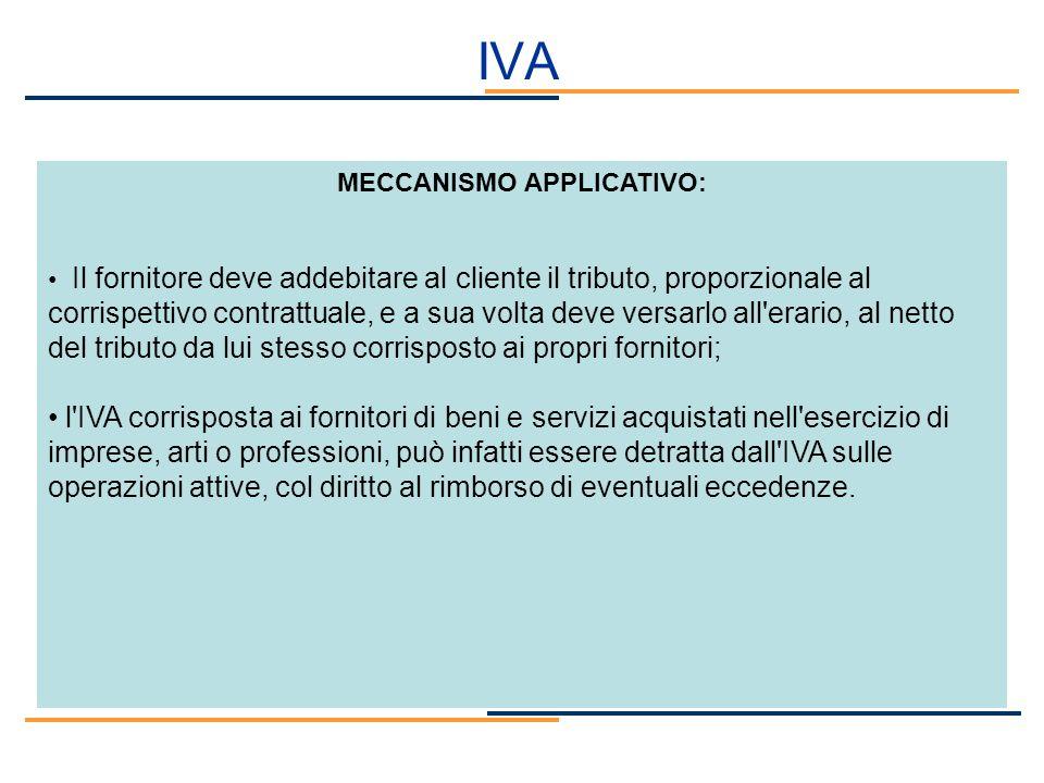 IVA MECCANISMO APPLICATIVO: Il fornitore deve addebitare al cliente il tributo, proporzionale al corrispettivo contrattuale, e a sua volta deve versar