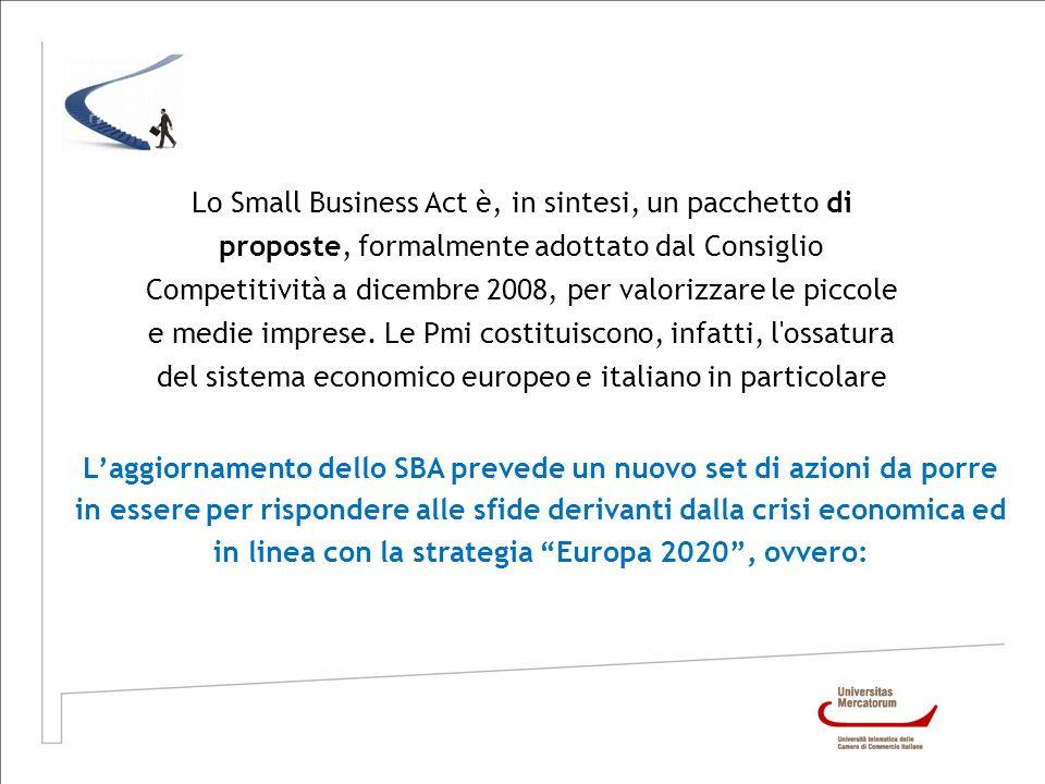 Lo Small Business Act è, in sintesi, un pacchetto di proposte, formalmente adottato dal Consiglio Competitività a dicembre 2008, per valorizzare le pi