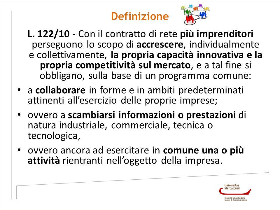 Definizione L. 122/10 - Con il contratto di rete più imprenditori perseguono lo scopo di accrescere, individualmente e collettivamente, la propria cap