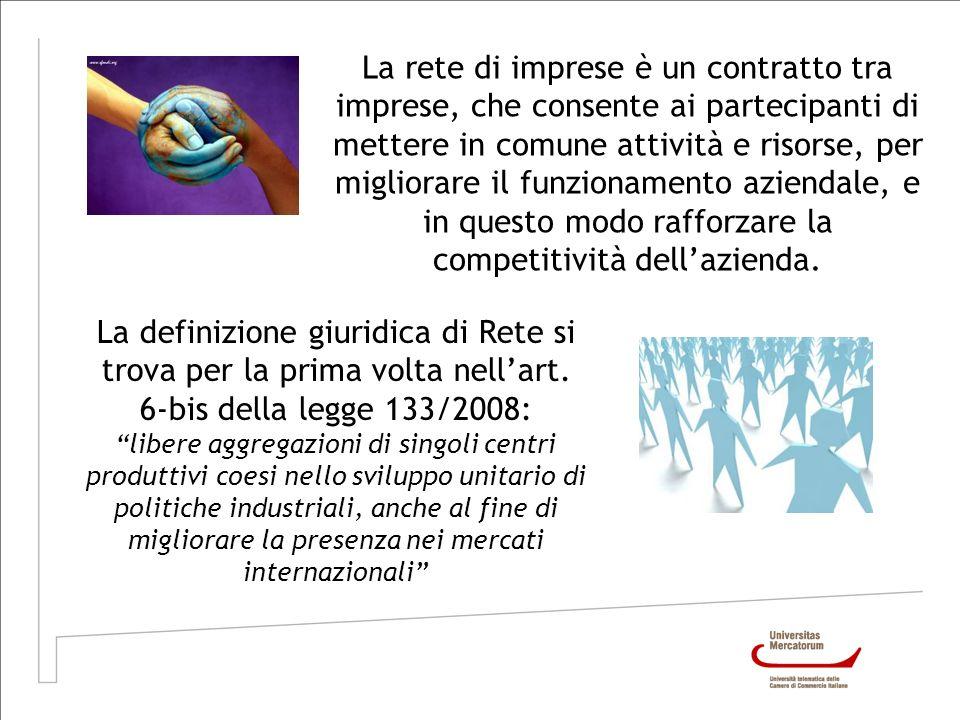 La rete di imprese è un contratto tra imprese, che consente ai partecipanti di mettere in comune attività e risorse, per migliorare il funzionamento a