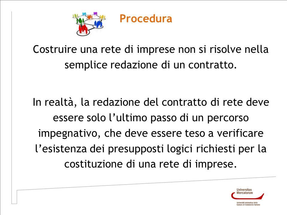 Procedura Costruire una rete di imprese non si risolve nella semplice redazione di un contratto. In realtà, la redazione del contratto di rete deve es