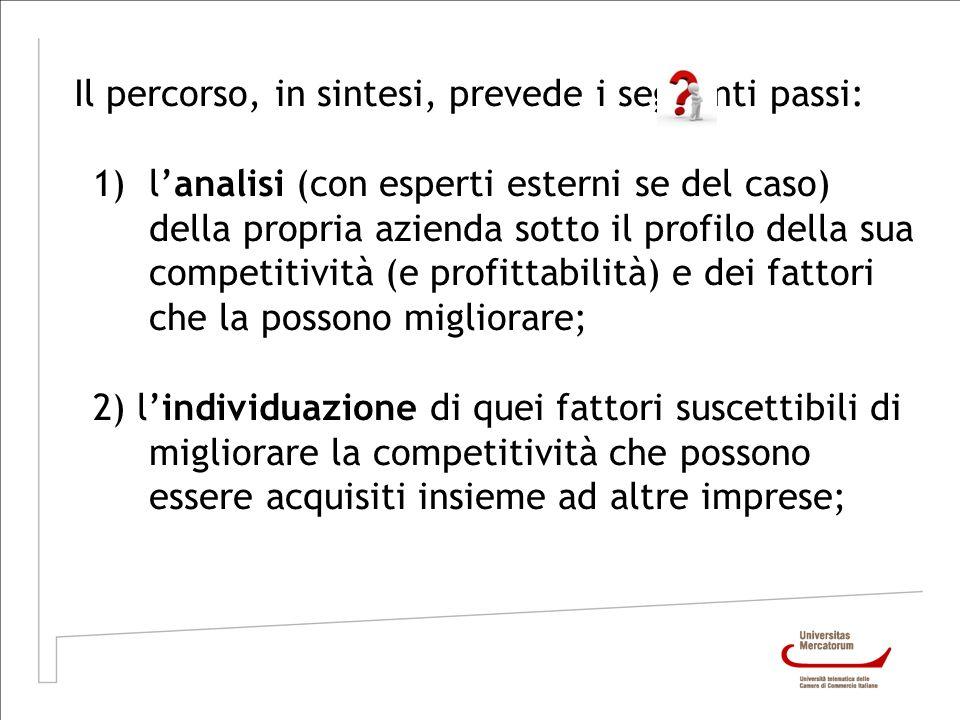 Il percorso, in sintesi, prevede i seguenti passi: 1)lanalisi (con esperti esterni se del caso) della propria azienda sotto il profilo della sua compe