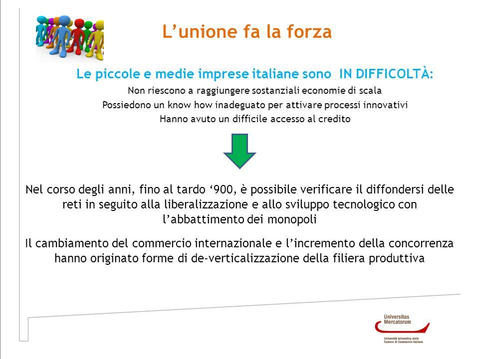 Lunione fa la forza Le piccole e medie imprese italiane sono IN DIFFICOLTÀ: Non riescono a raggiungere sostanziali economie di scala Possiedono un kno