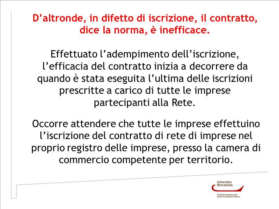 Daltronde, in difetto di iscrizione, il contratto, dice la norma, è inefficace. Effettuato ladempimento delliscrizione, lefficacia del contratto inizi