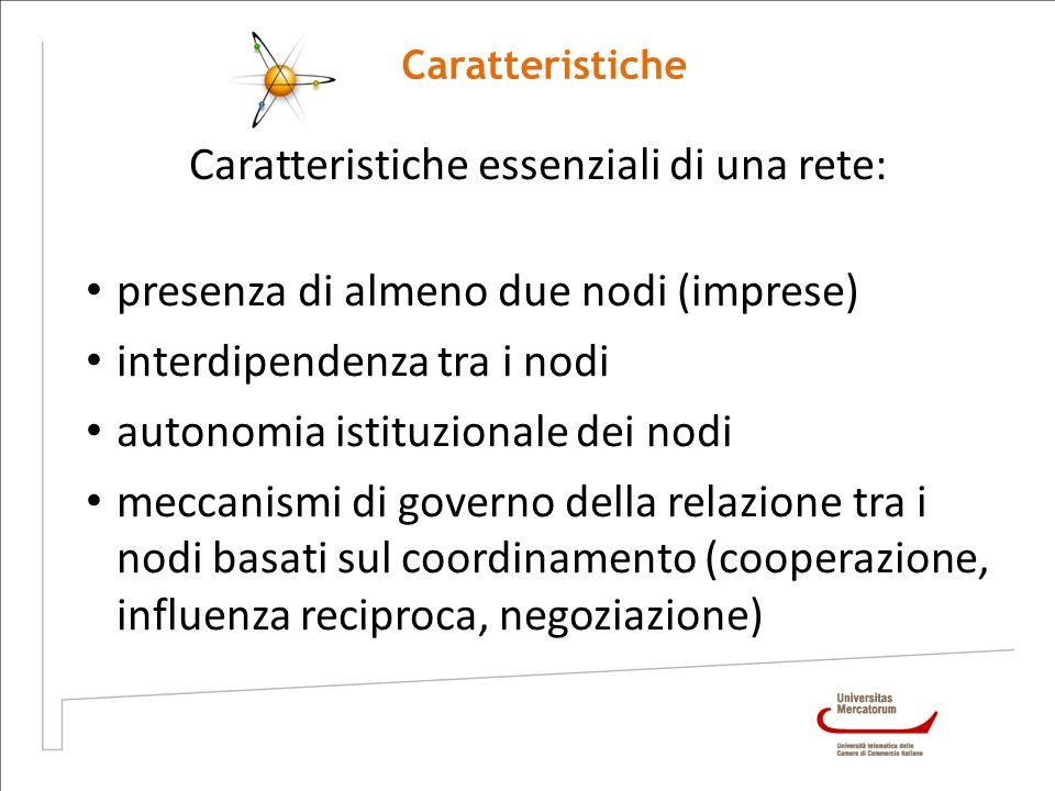 Caratteristiche Caratteristiche essenziali di una rete: presenza di almeno due nodi (imprese) interdipendenza tra i nodi autonomia istituzionale dei n