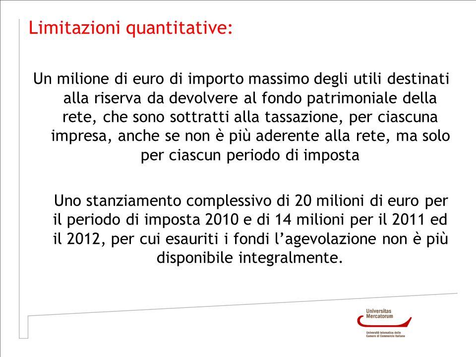 Limitazioni quantitative: Un milione di euro di importo massimo degli utili destinati alla riserva da devolvere al fondo patrimoniale della rete, che