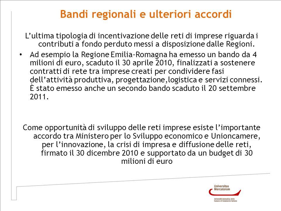 Lultima tipologia di incentivazione delle reti di imprese riguarda i contributi a fondo perduto messi a disposizione dalle Regioni. Ad esempio la Regi