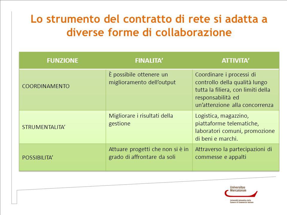 Lo strumento del contratto di rete si adatta a diverse forme di collaborazione