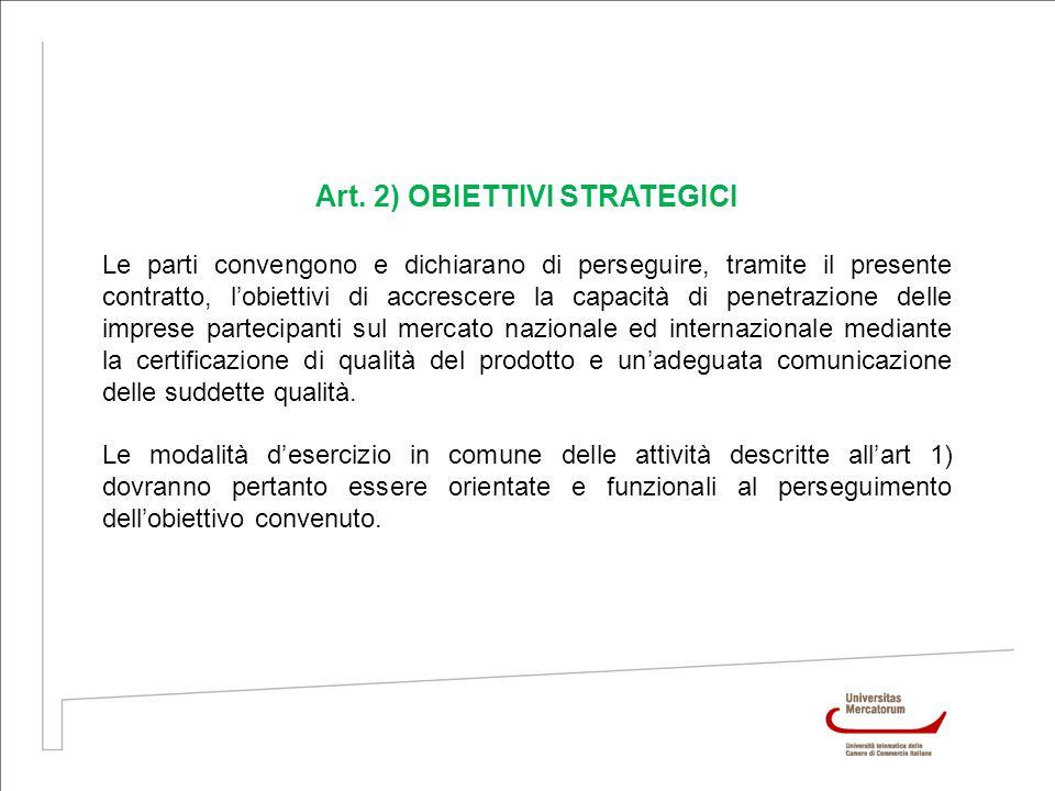 Art. 2) OBIETTIVI STRATEGICI Le parti convengono e dichiarano di perseguire, tramite il presente contratto, lobiettivi di accrescere la capacità di pe